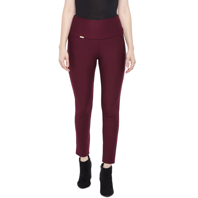 Red Solid Slim Fit Trousers-1