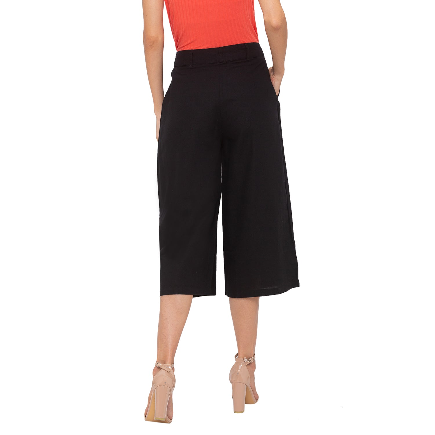 Globus Black Solid Trousers-3