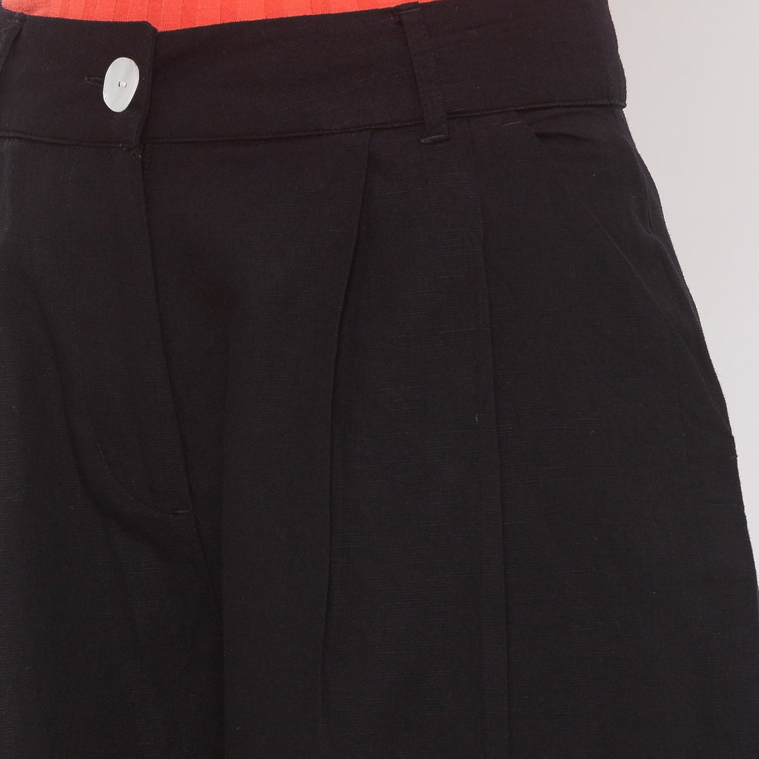 Globus Black Solid Trousers-5