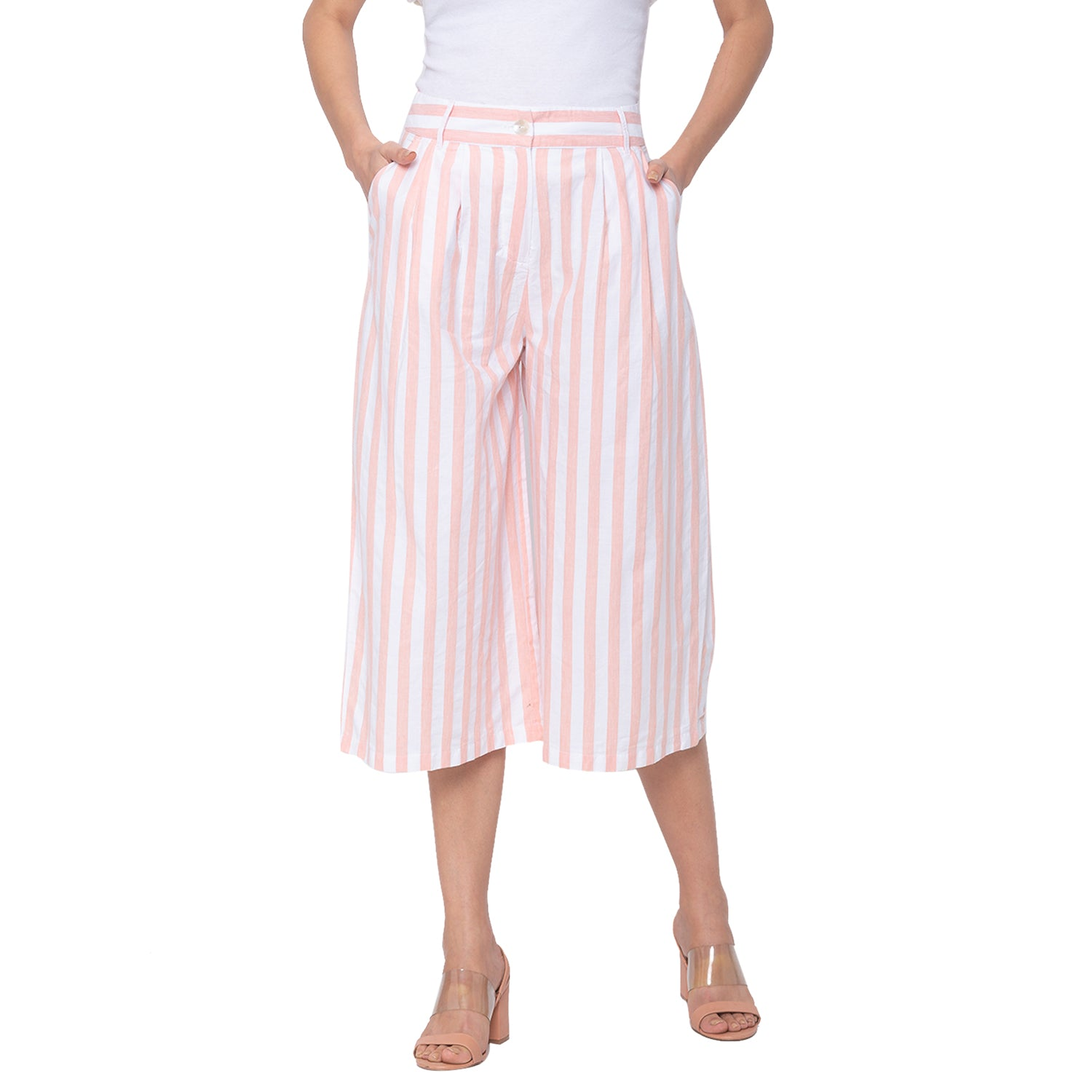Globus White Striped Trousers-1