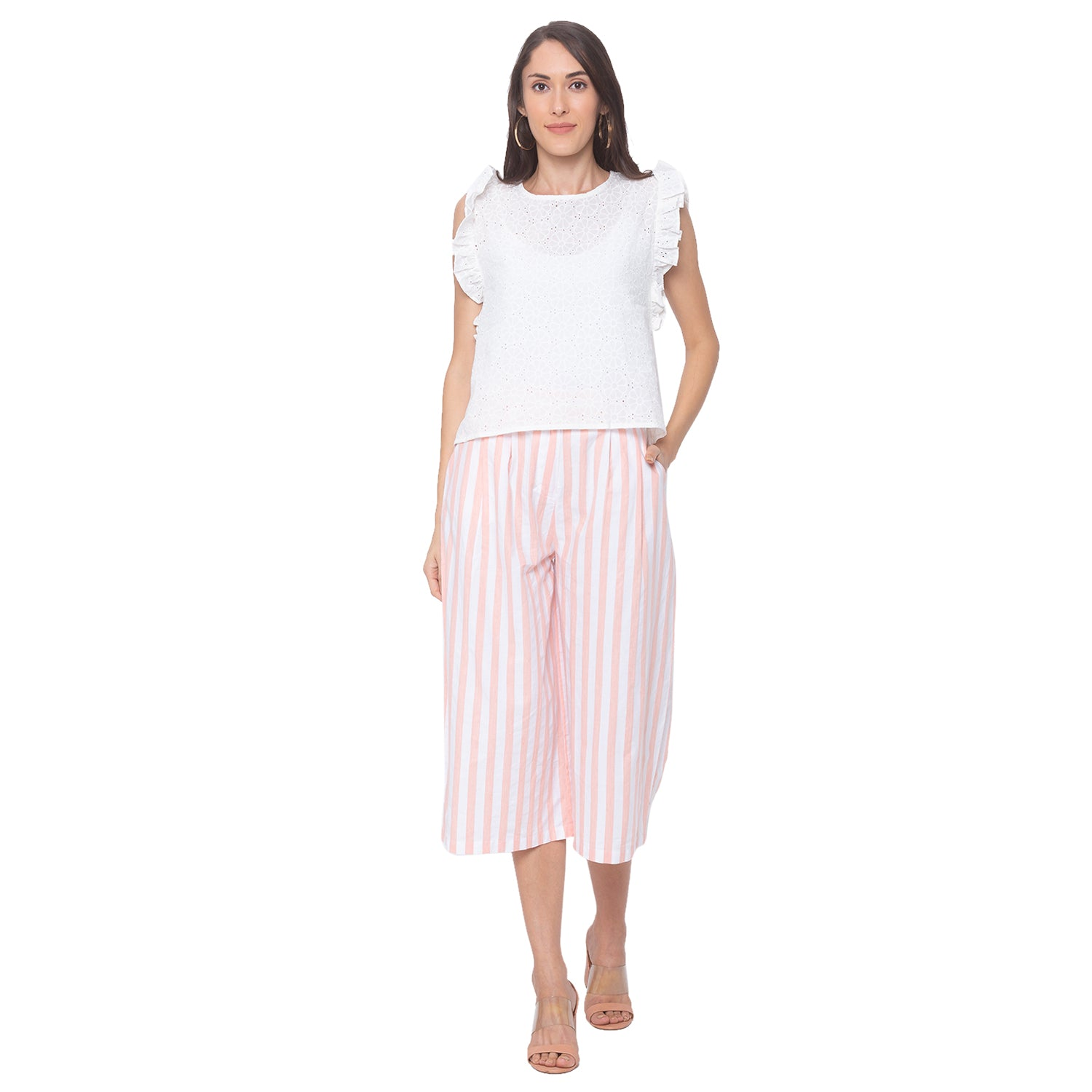 Globus White Striped Trousers-4