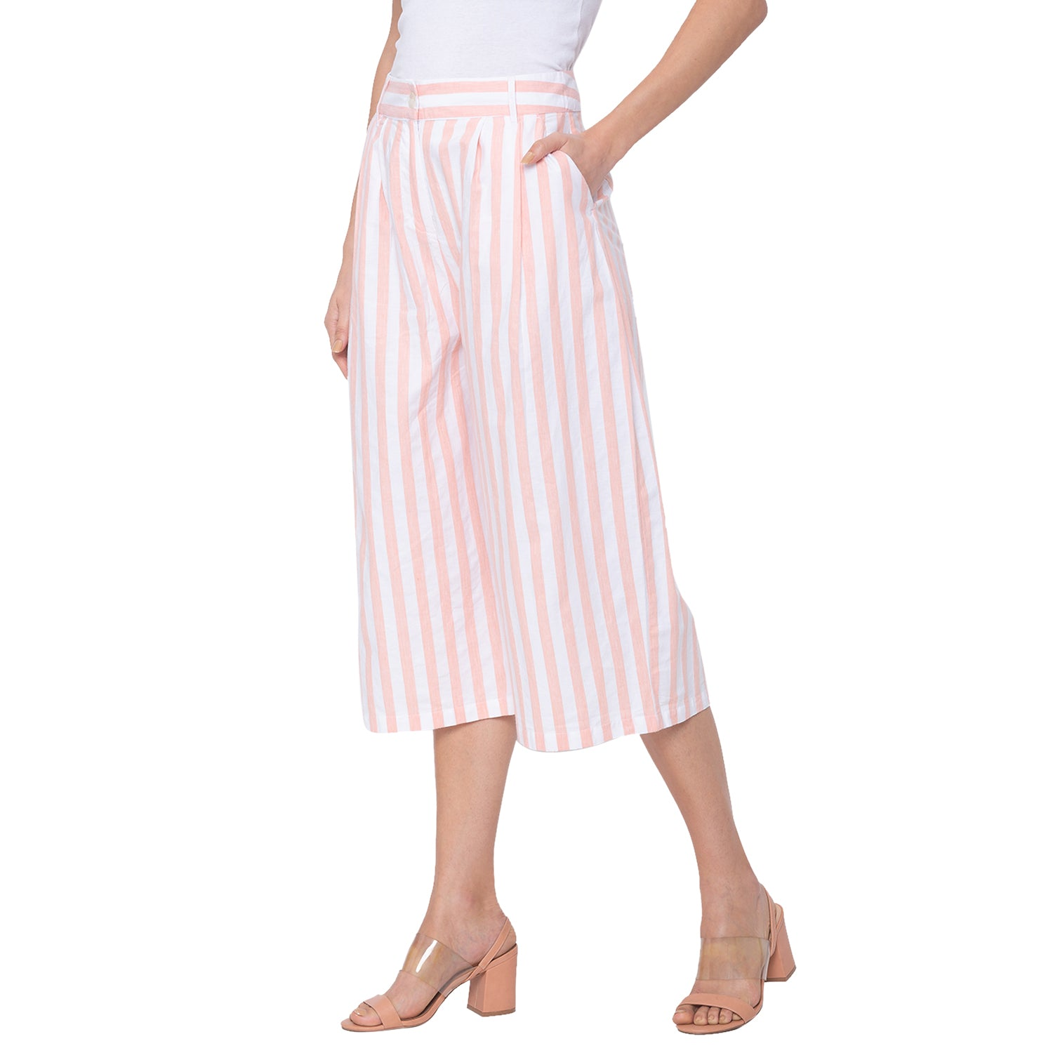 Globus White Striped Trousers-2