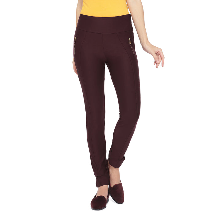 Maroon Solid Slim Fit Jeggings-1
