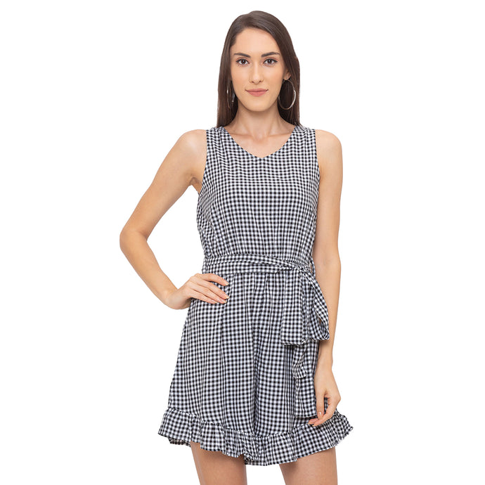 Globus Black Checked Playsuit-1
