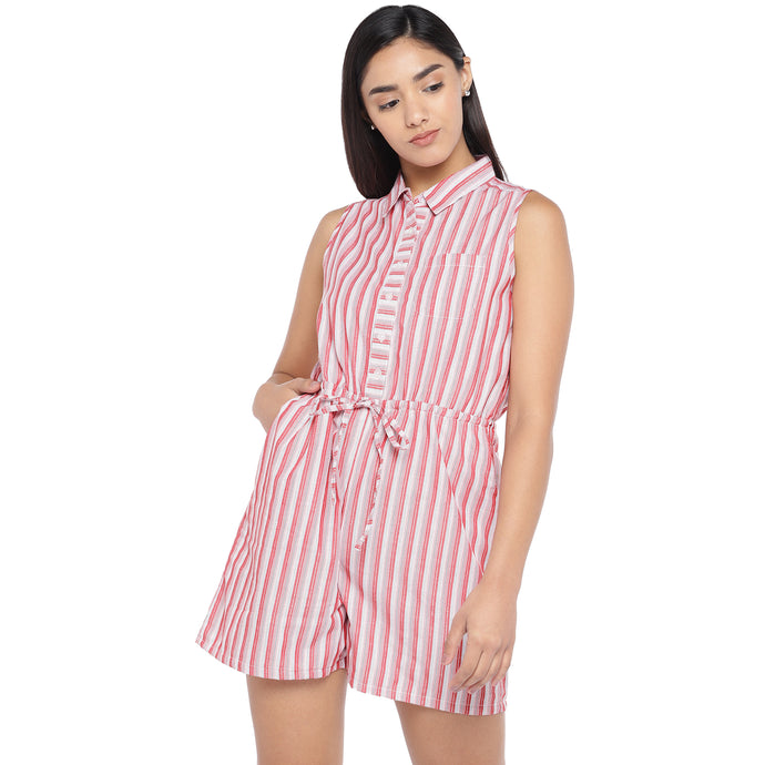 Red & Off-White Striped Playsuit-1