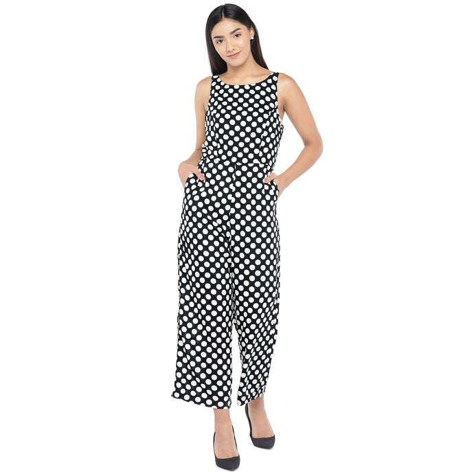 Black & Off-White Printed Basic Jumpsuit-1