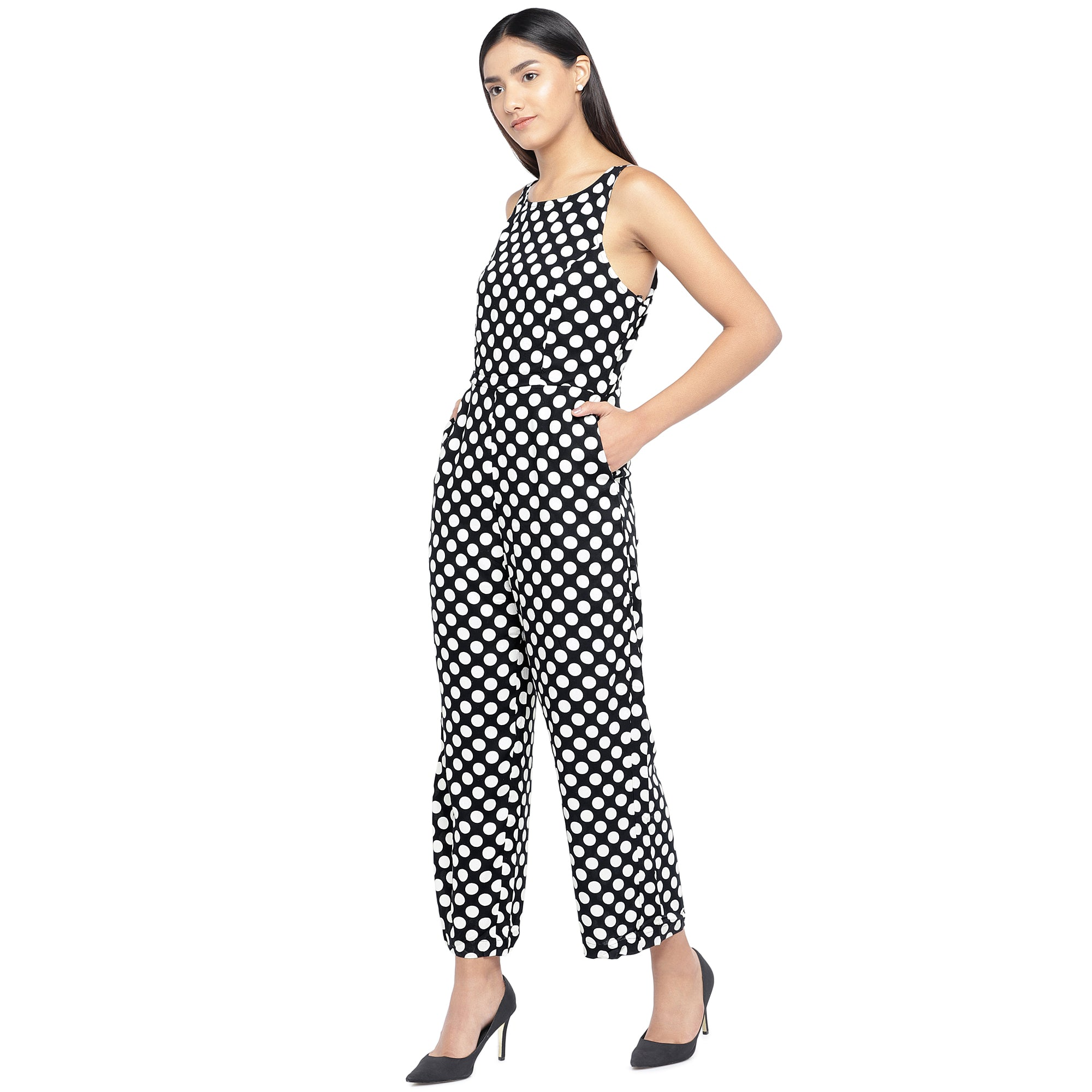 Black & Off-White Printed Basic Jumpsuit-2