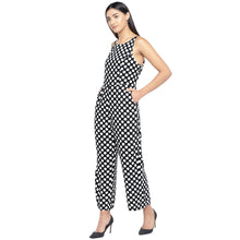 Load image into Gallery viewer, Black & Off-White Printed Basic Jumpsuit-2