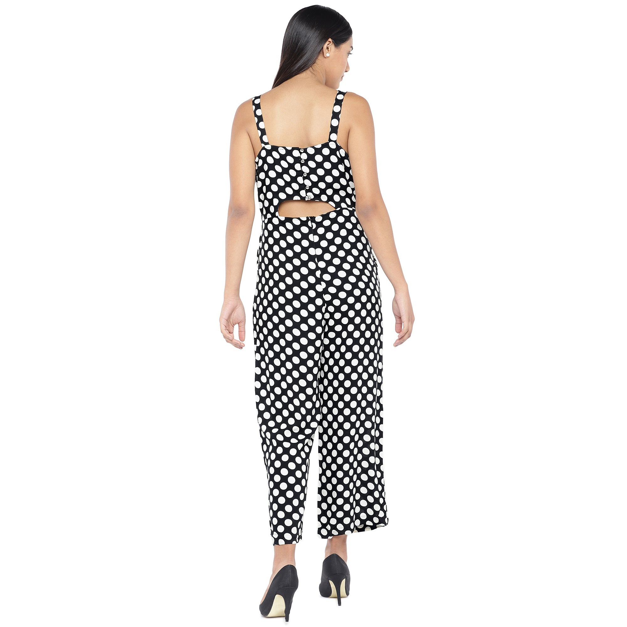 Black & Off-White Printed Basic Jumpsuit-3