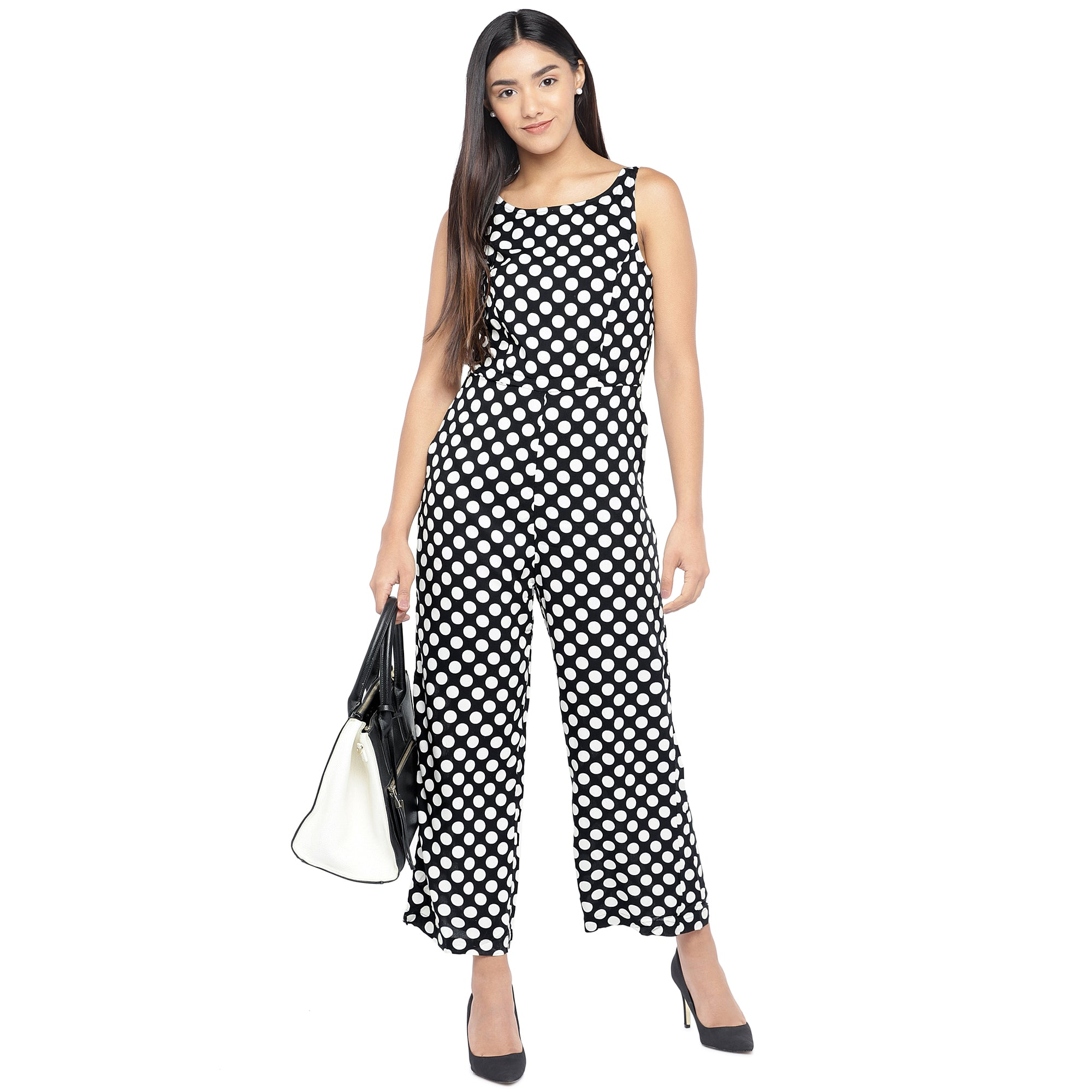 Black & Off-White Printed Basic Jumpsuit-4