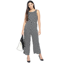 Load image into Gallery viewer, Black & Off-White Printed Basic Jumpsuit-4