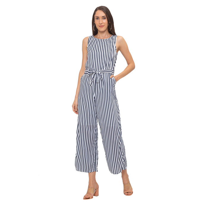 Globus Navy Blue Striped Jumpsuit-1