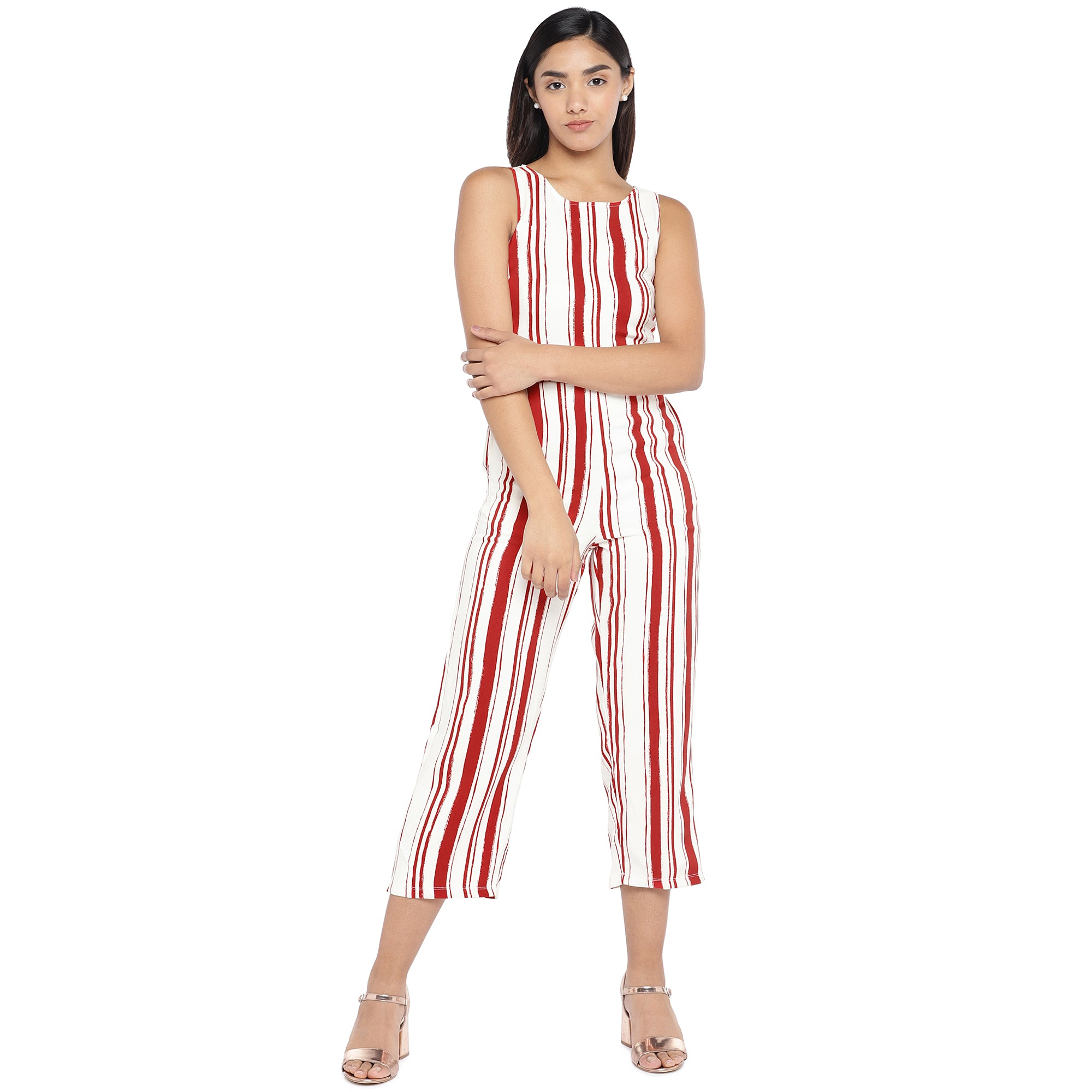 Red & Off-White Striped Culotte Jumpsuit-1
