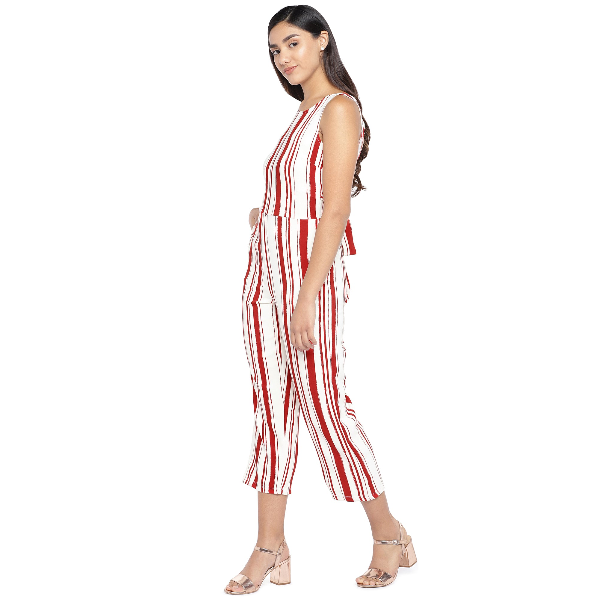 Red & Off-White Striped Culotte Jumpsuit-2