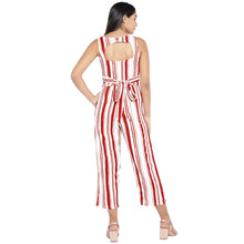 Load image into Gallery viewer, Red & Off-White Striped Culotte Jumpsuit-3