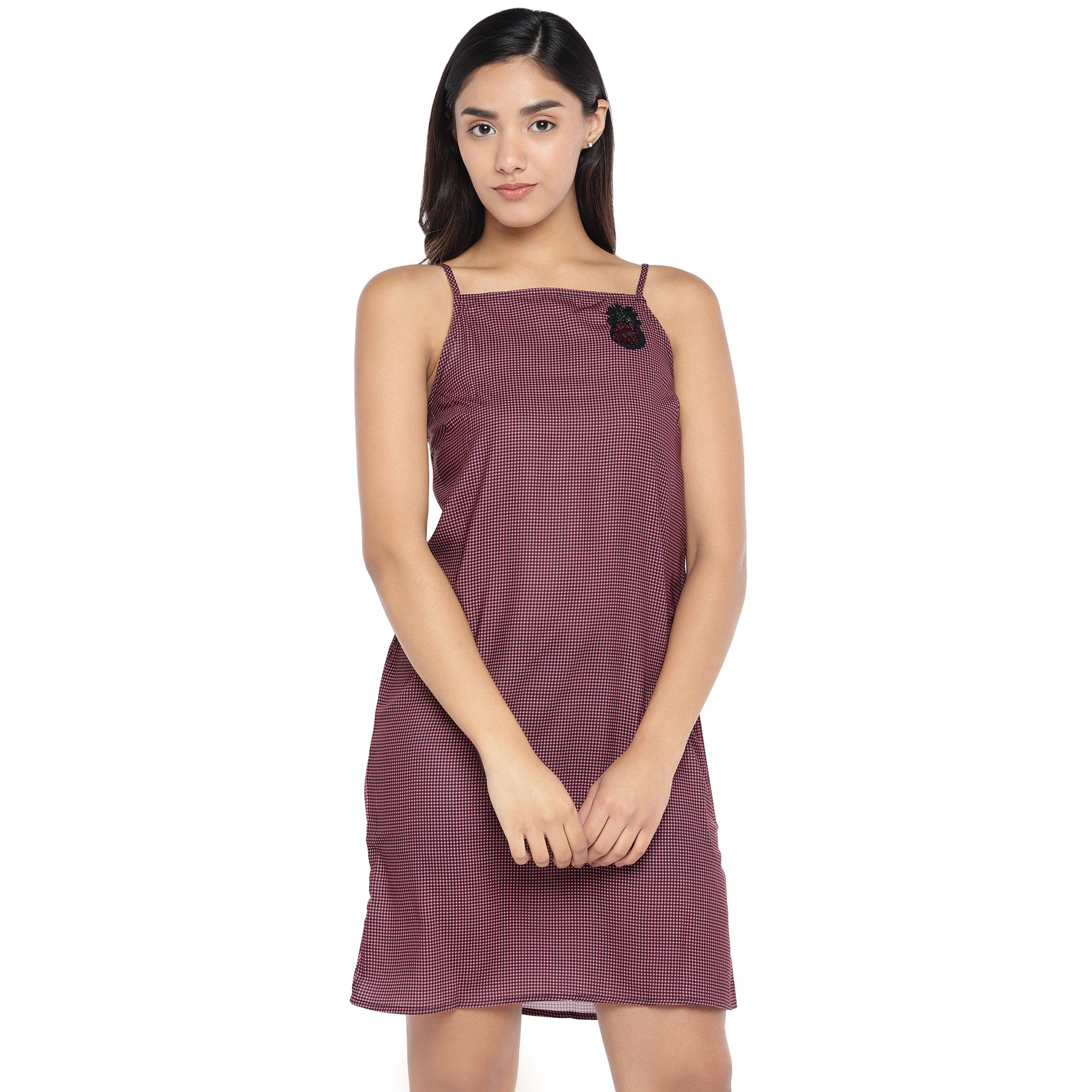 Pink Self-Checked A-Line Dress-1
