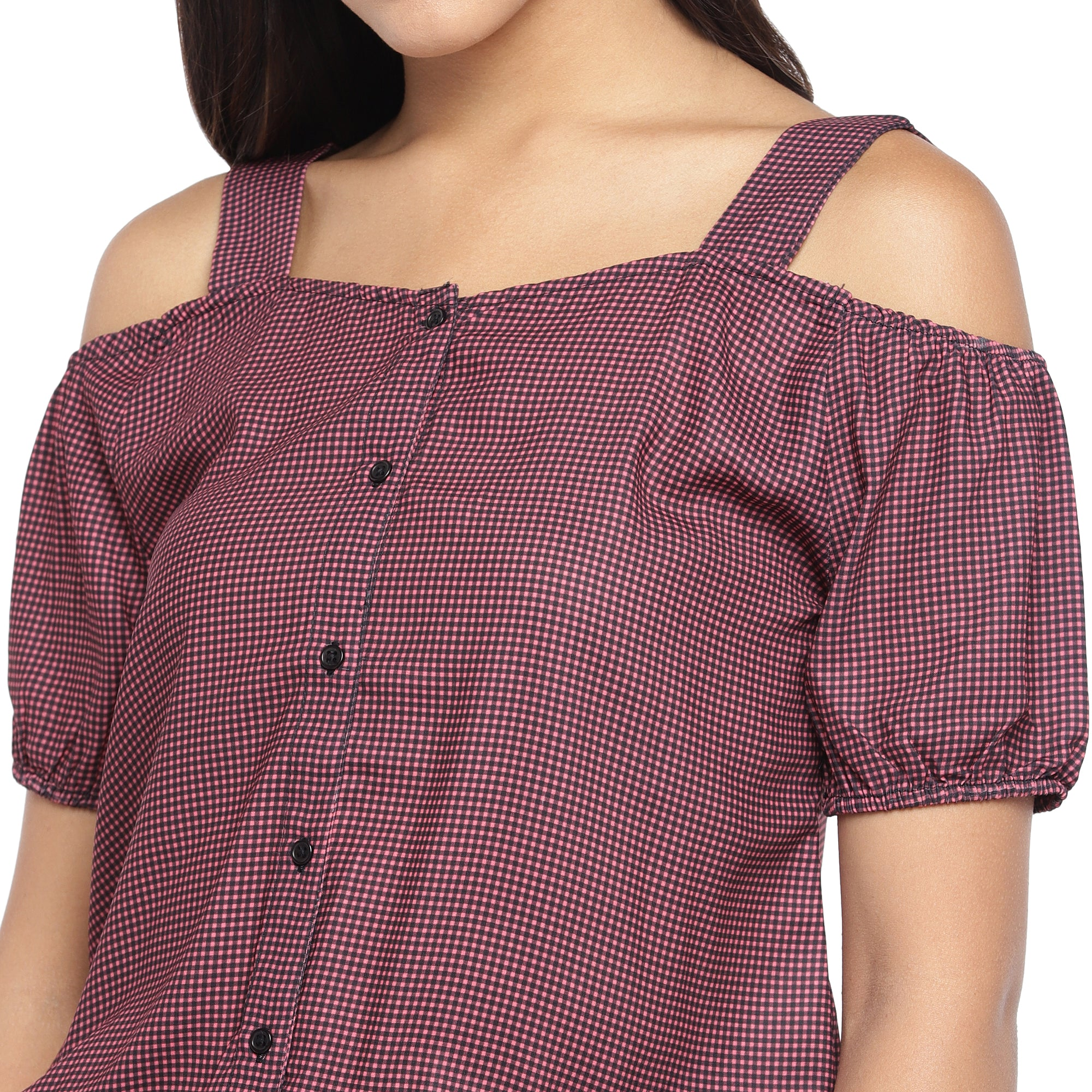 Maroon Checked Blouson Top-5