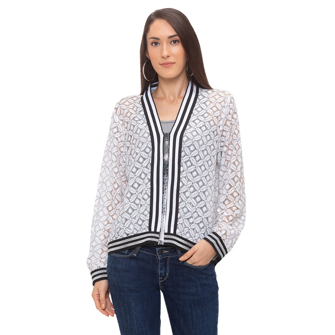 Globus White Printed Jacket-1