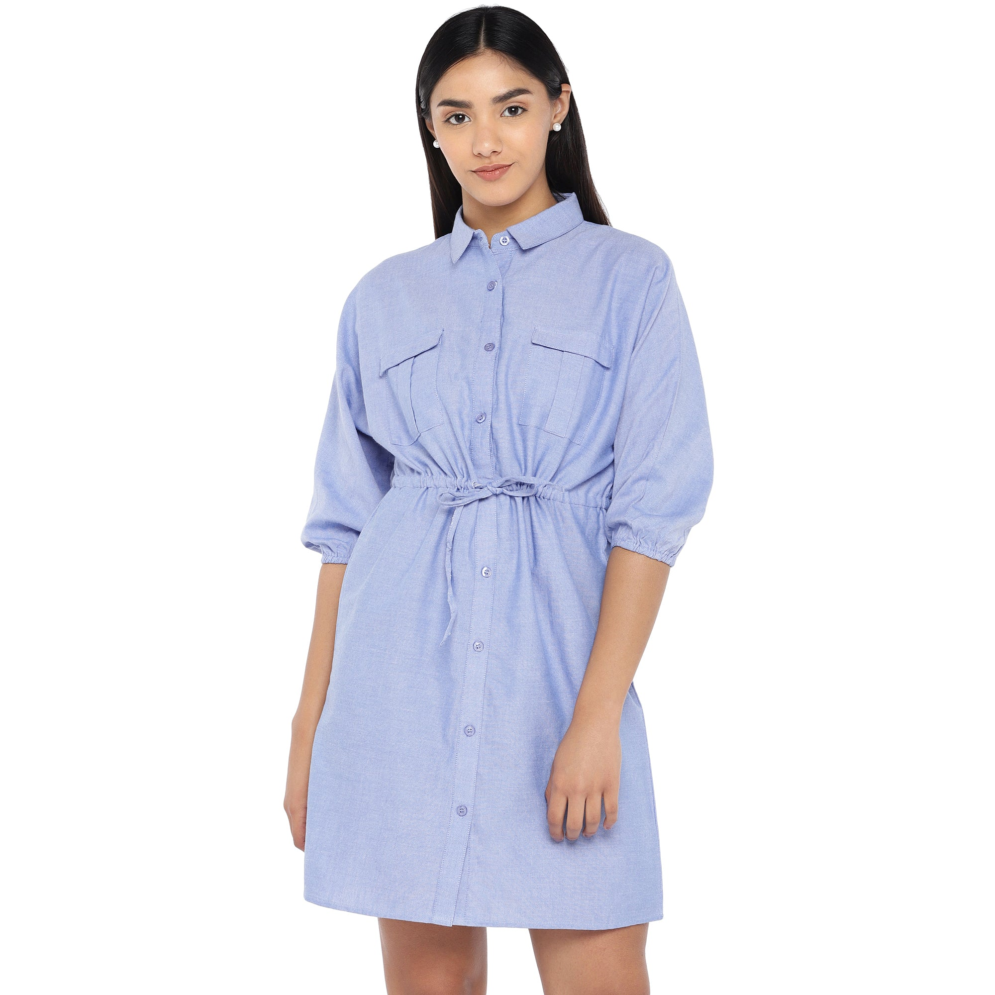 Blue Solid Shirt Dress-1