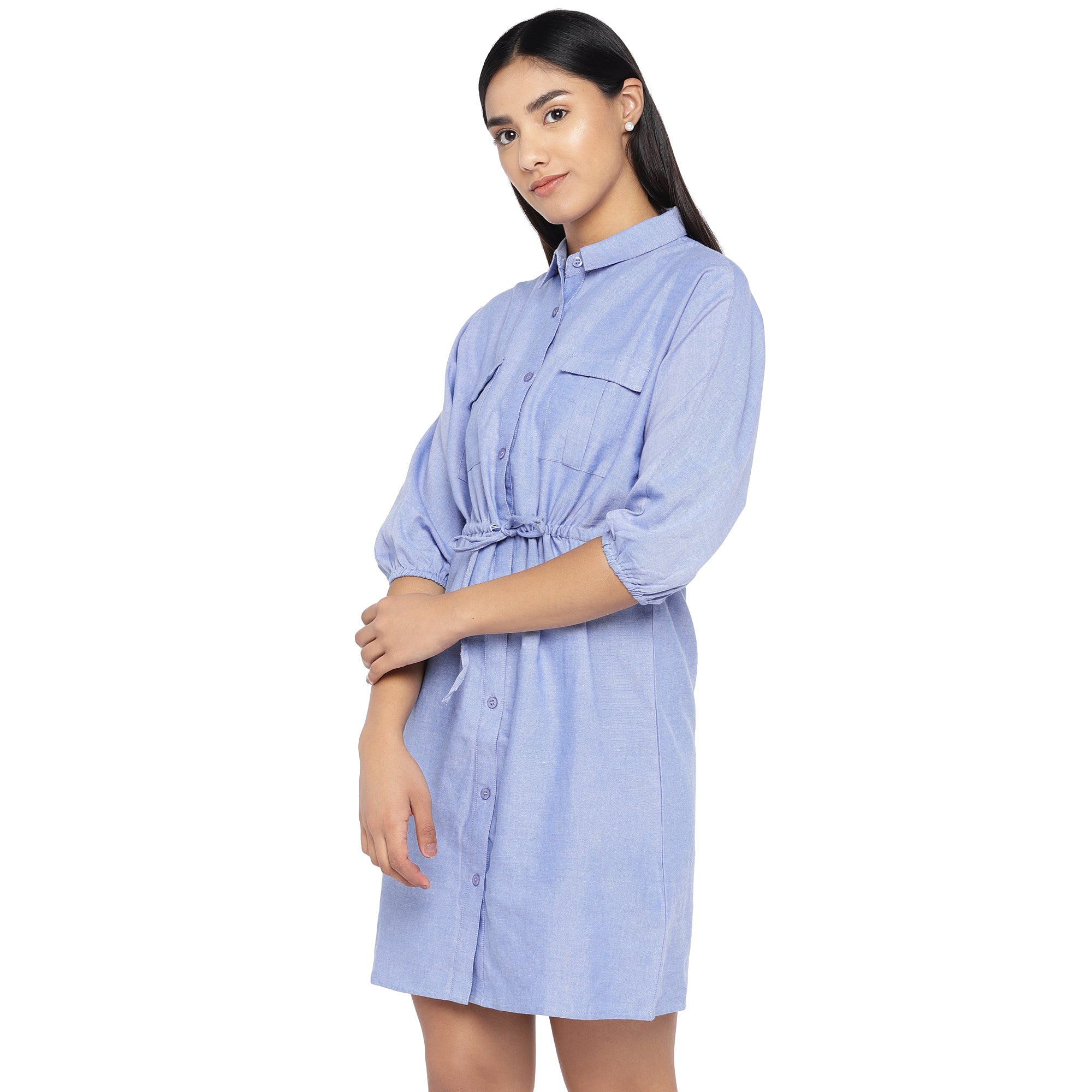 Blue Solid Shirt Dress-2