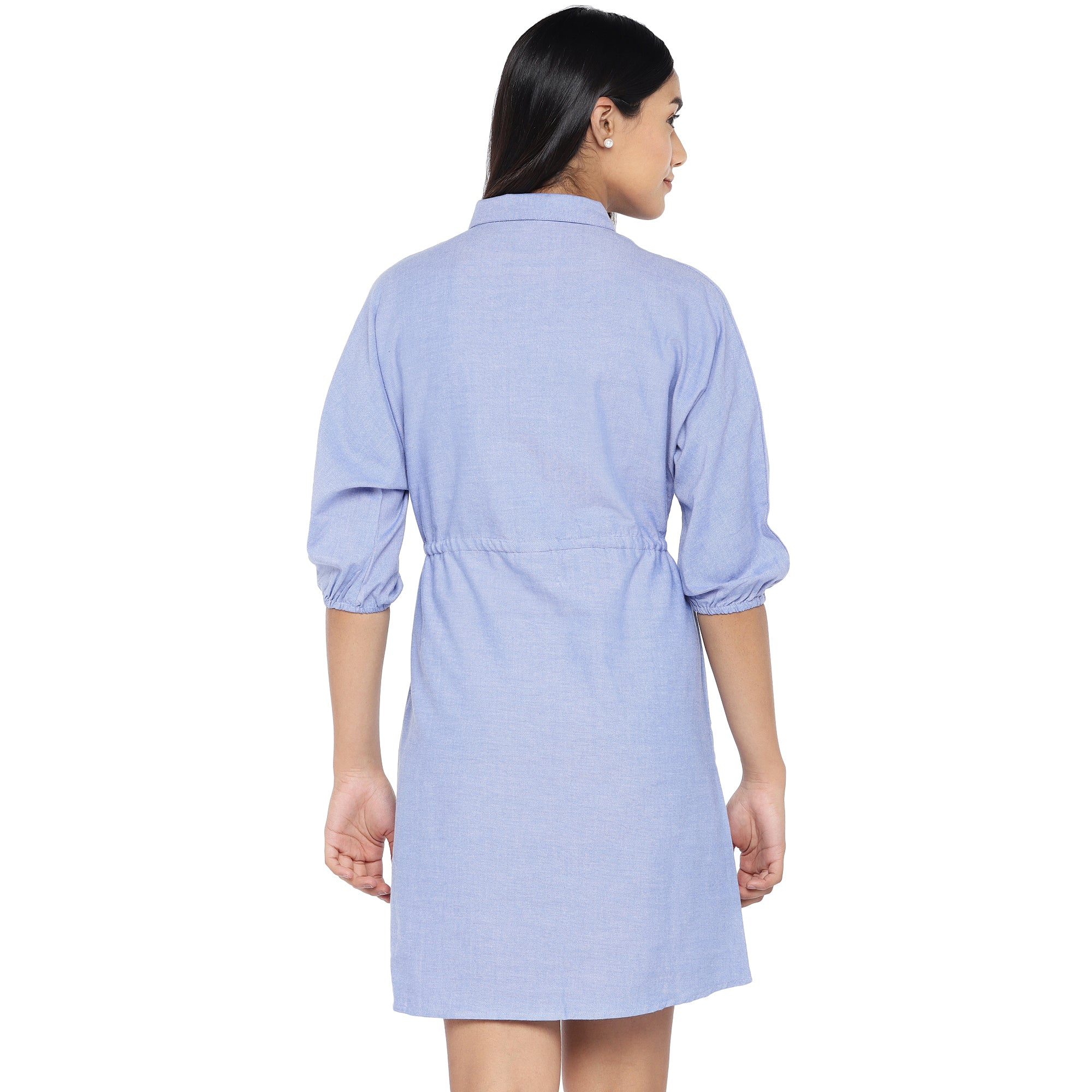 Blue Solid Shirt Dress-3