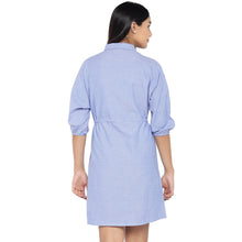 Load image into Gallery viewer, Blue Solid Shirt Dress-3