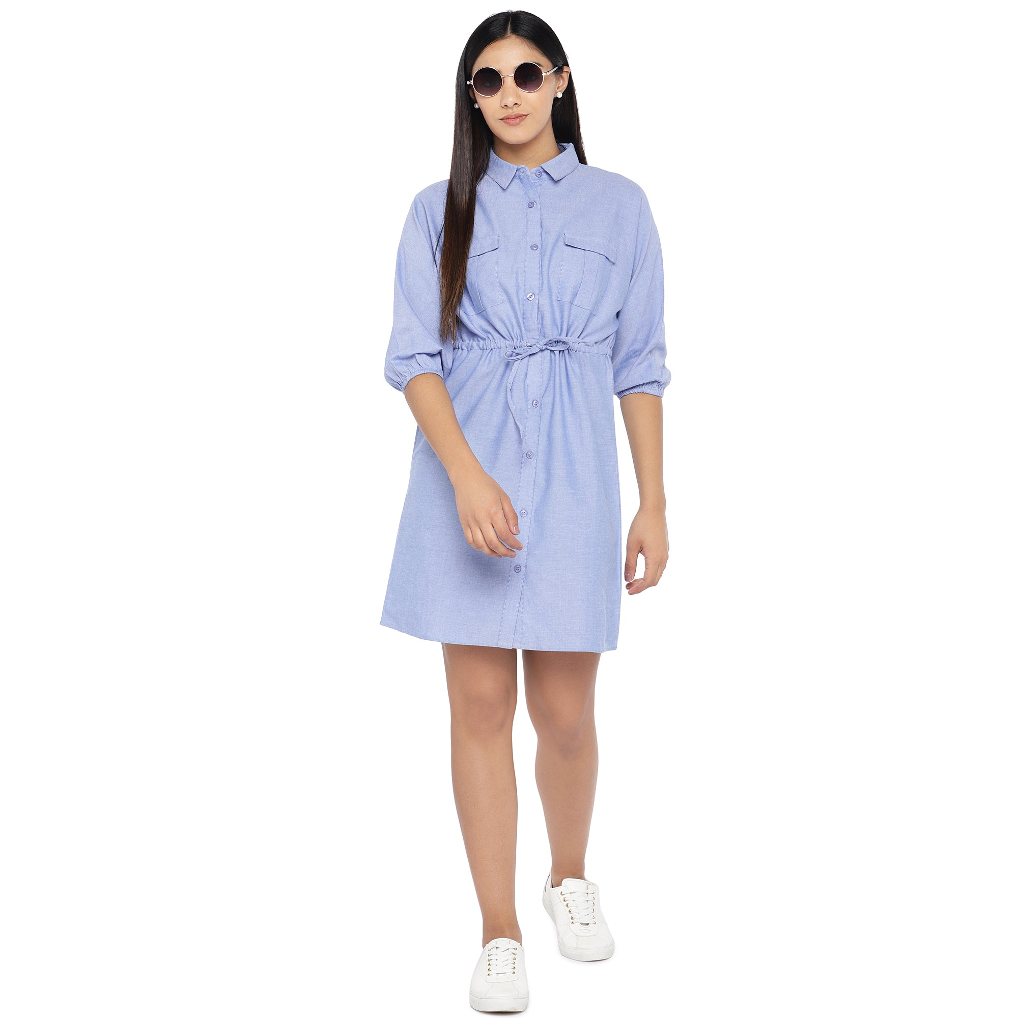 Blue Solid Shirt Dress-4
