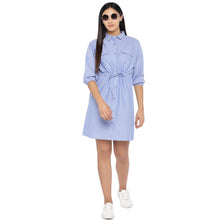 Load image into Gallery viewer, Blue Solid Shirt Dress-4