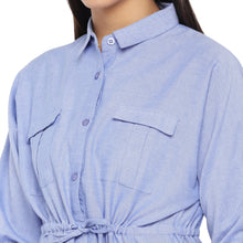 Load image into Gallery viewer, Blue Solid Shirt Dress-5