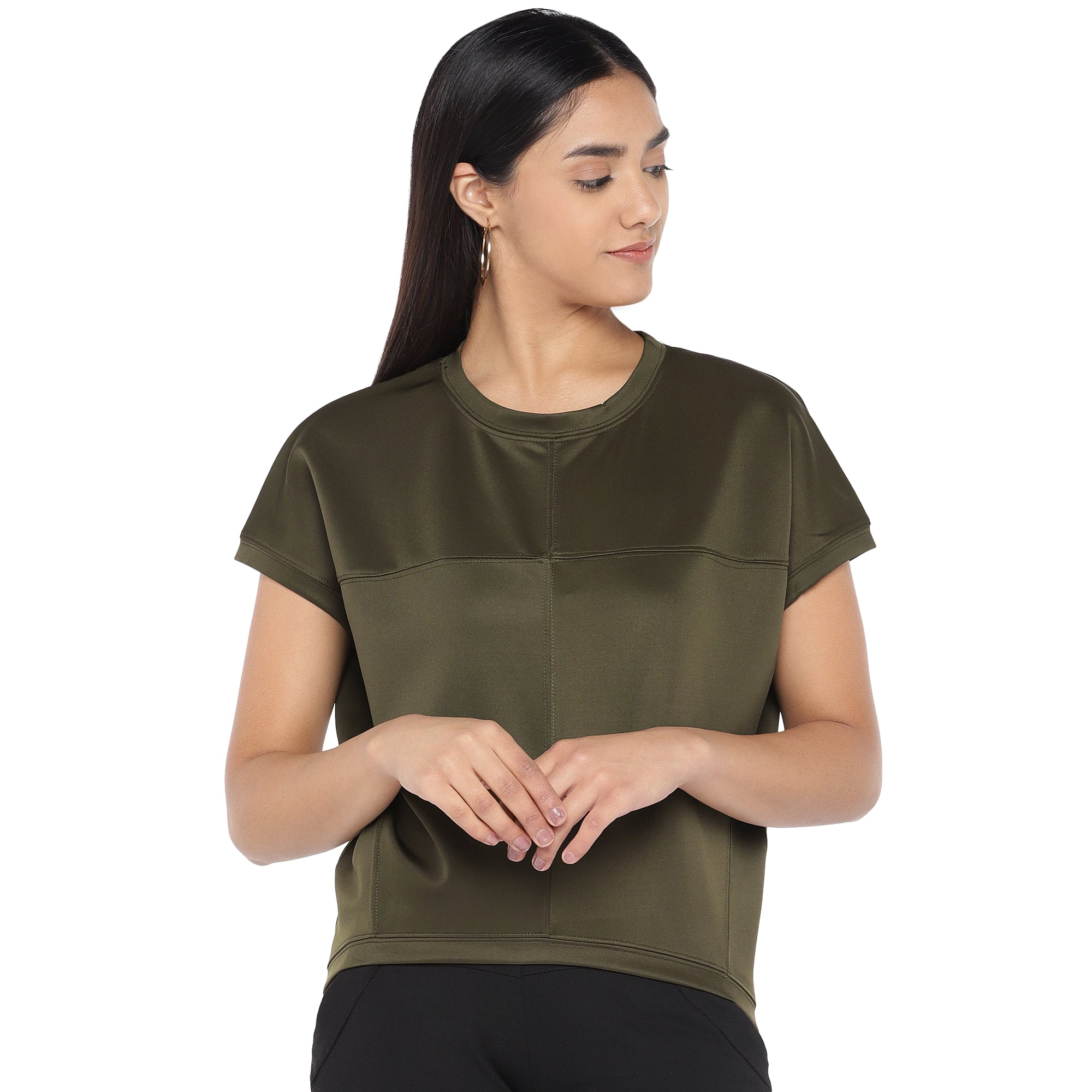 Olive Green Colourblocked Top-1