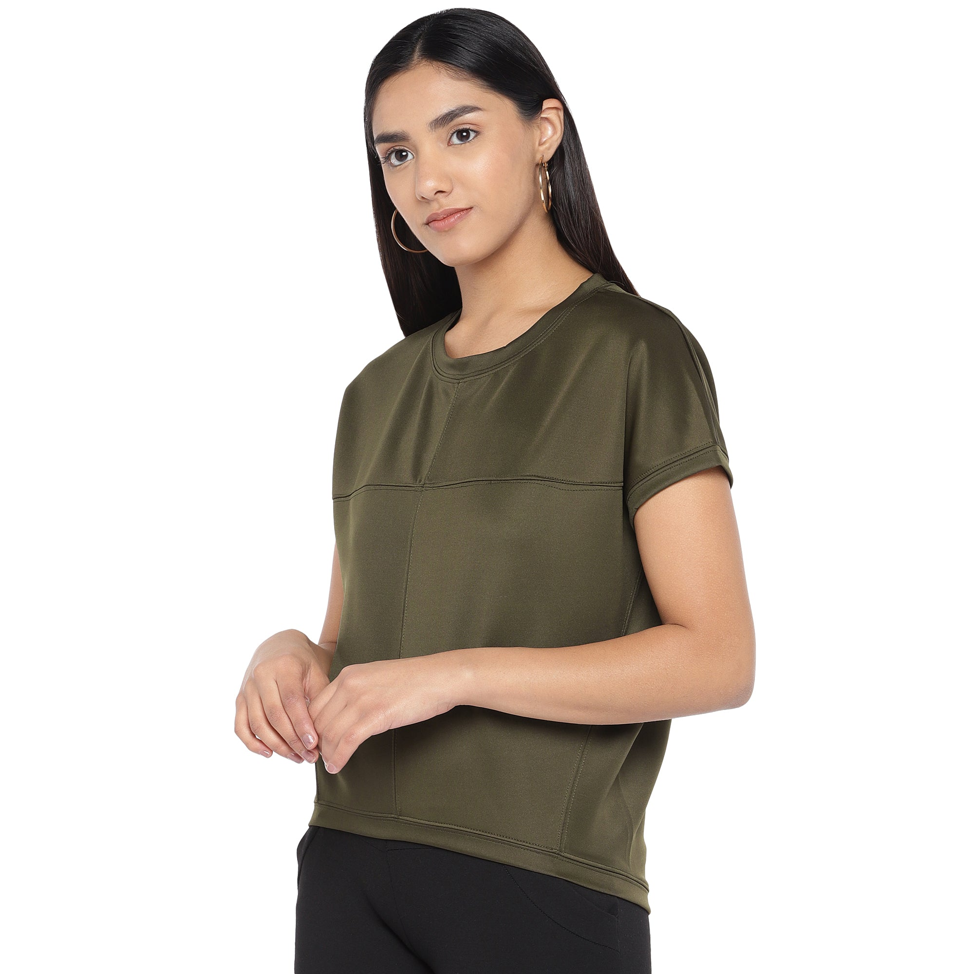 Olive Green Colourblocked Top-2