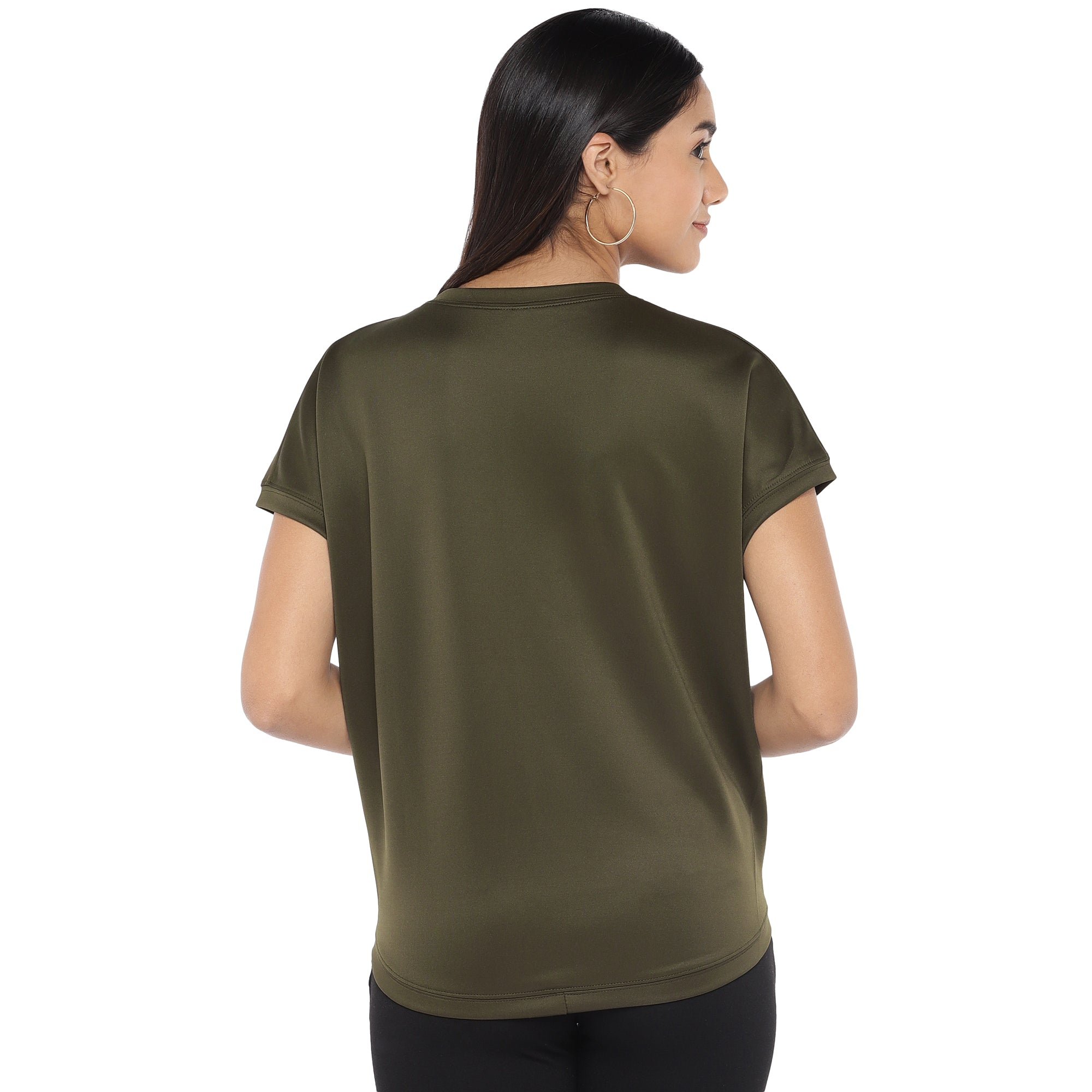 Olive Green Colourblocked Top-3