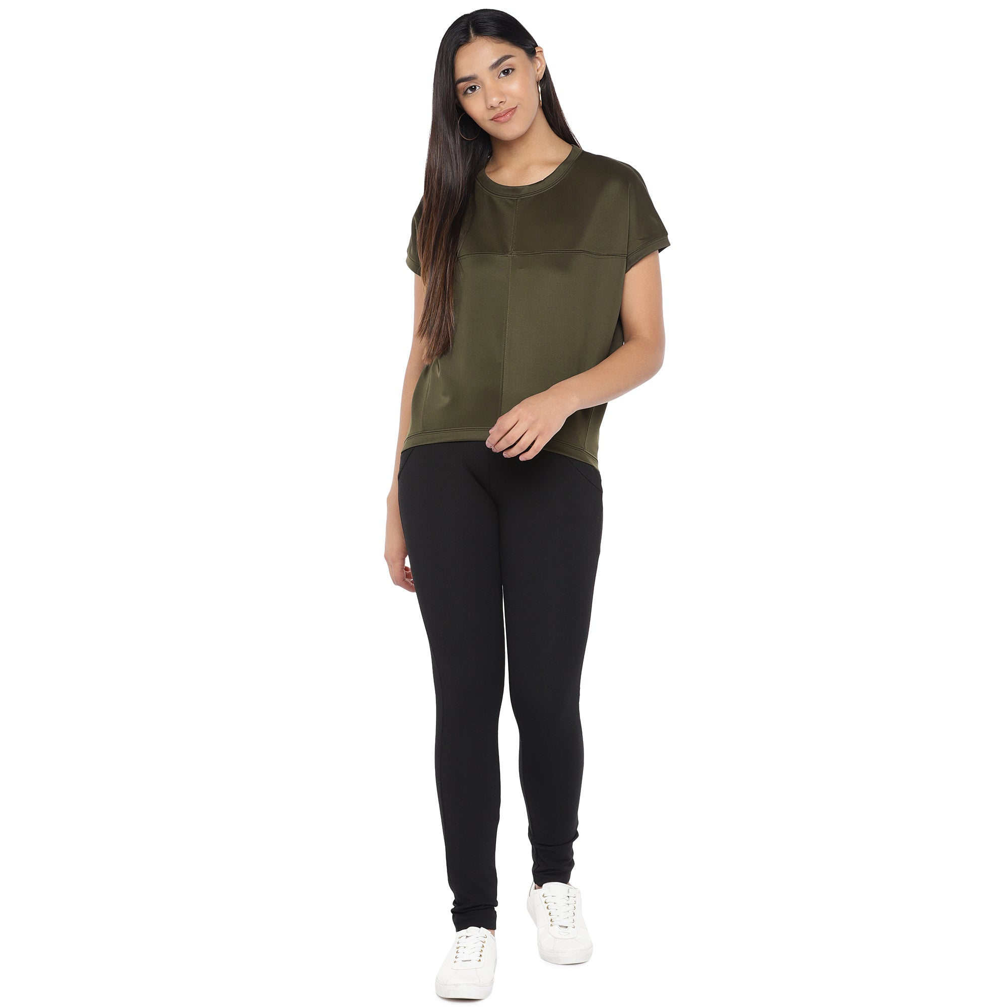 Olive Green Colourblocked Top-4