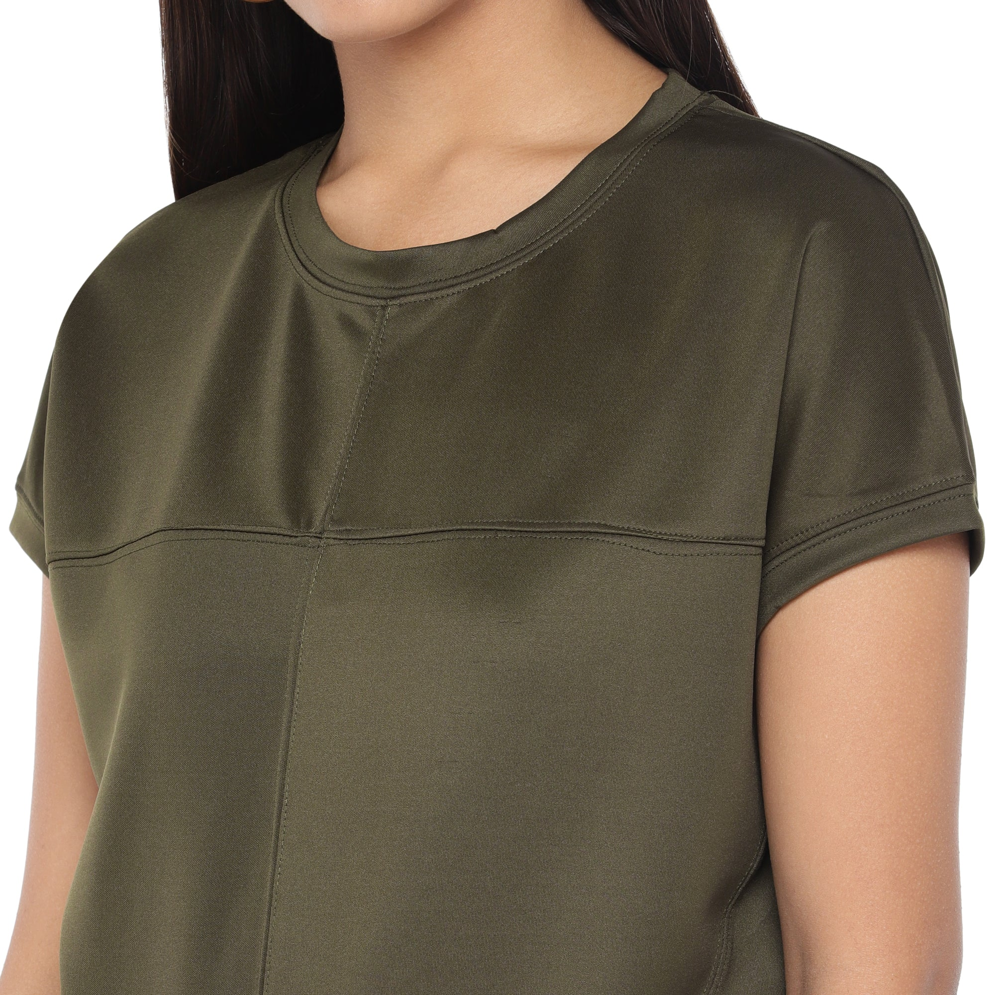 Olive Green Colourblocked Top-5