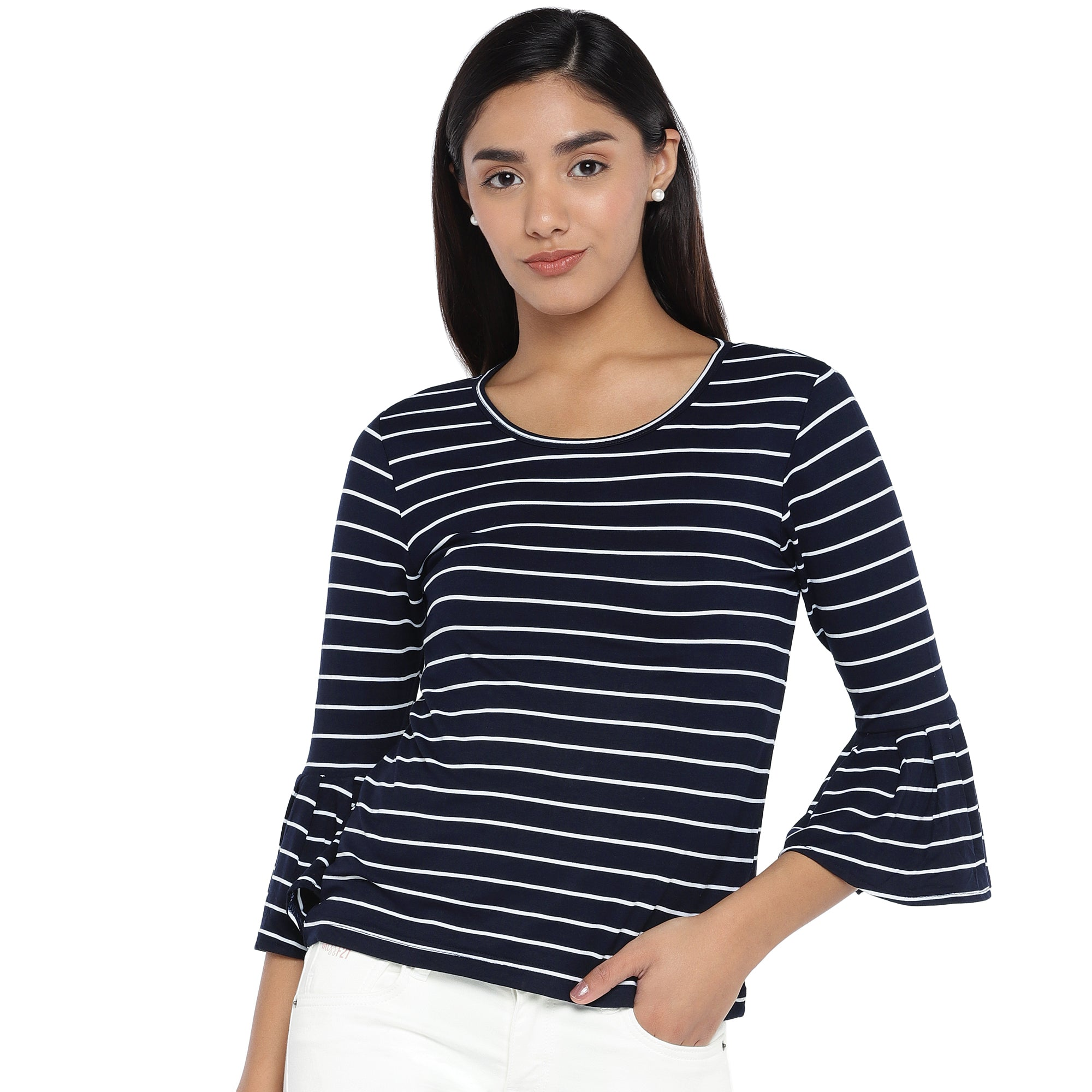 Navy Blue Striped Top-1