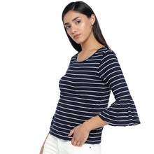 Load image into Gallery viewer, Navy Blue Striped Top-2