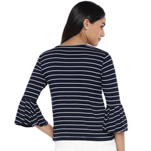 Load image into Gallery viewer, Navy Blue Striped Top-3