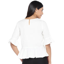Load image into Gallery viewer, White Printed Peplum Top-3
