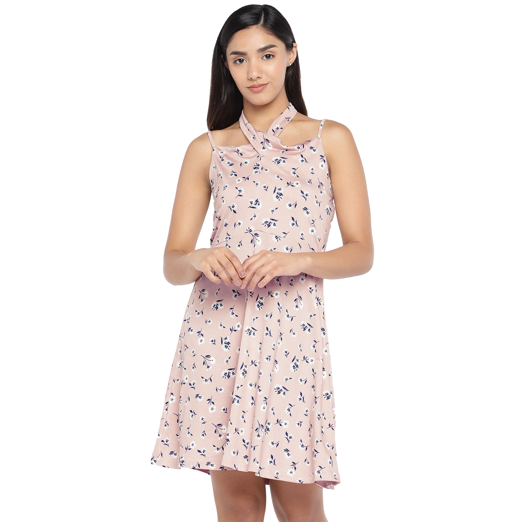 Pink & Navy Blue Printed Fit and Flare Dress-1