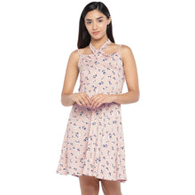 Load image into Gallery viewer, Pink & Navy Blue Printed Fit and Flare Dress-1