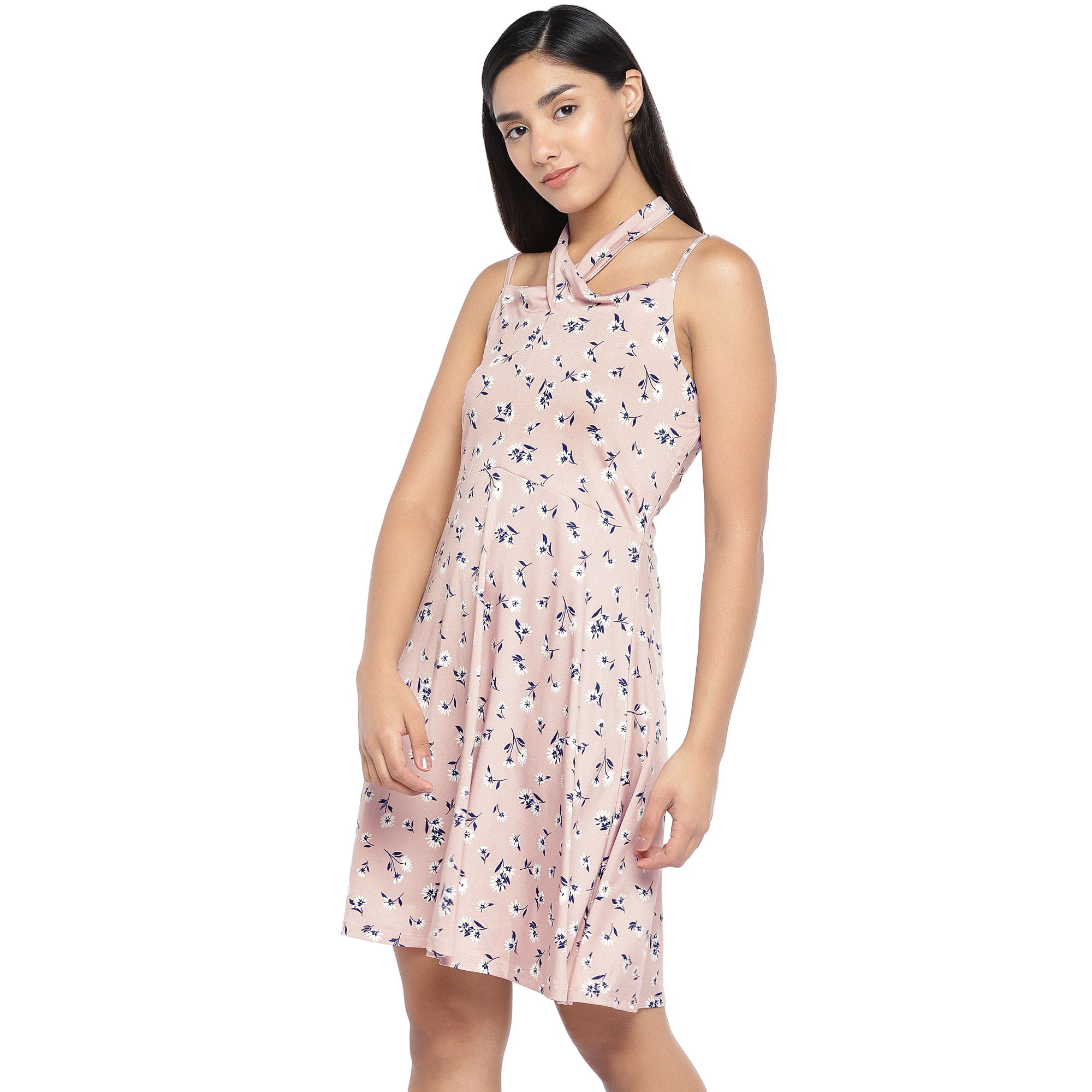 Pink & Navy Blue Printed Fit and Flare Dress-2