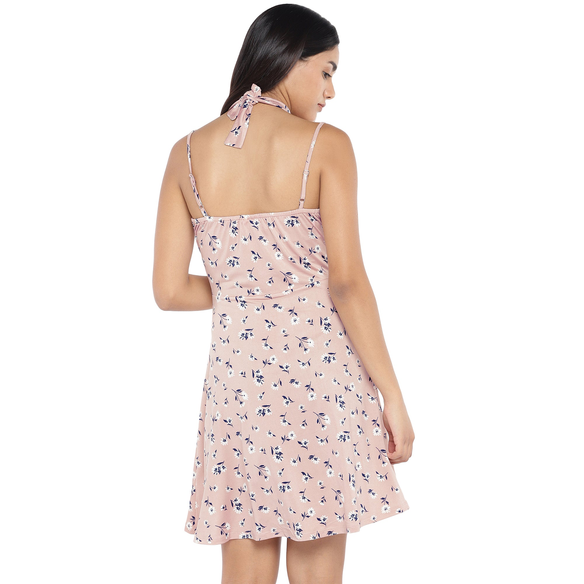 Pink & Navy Blue Printed Fit and Flare Dress-3