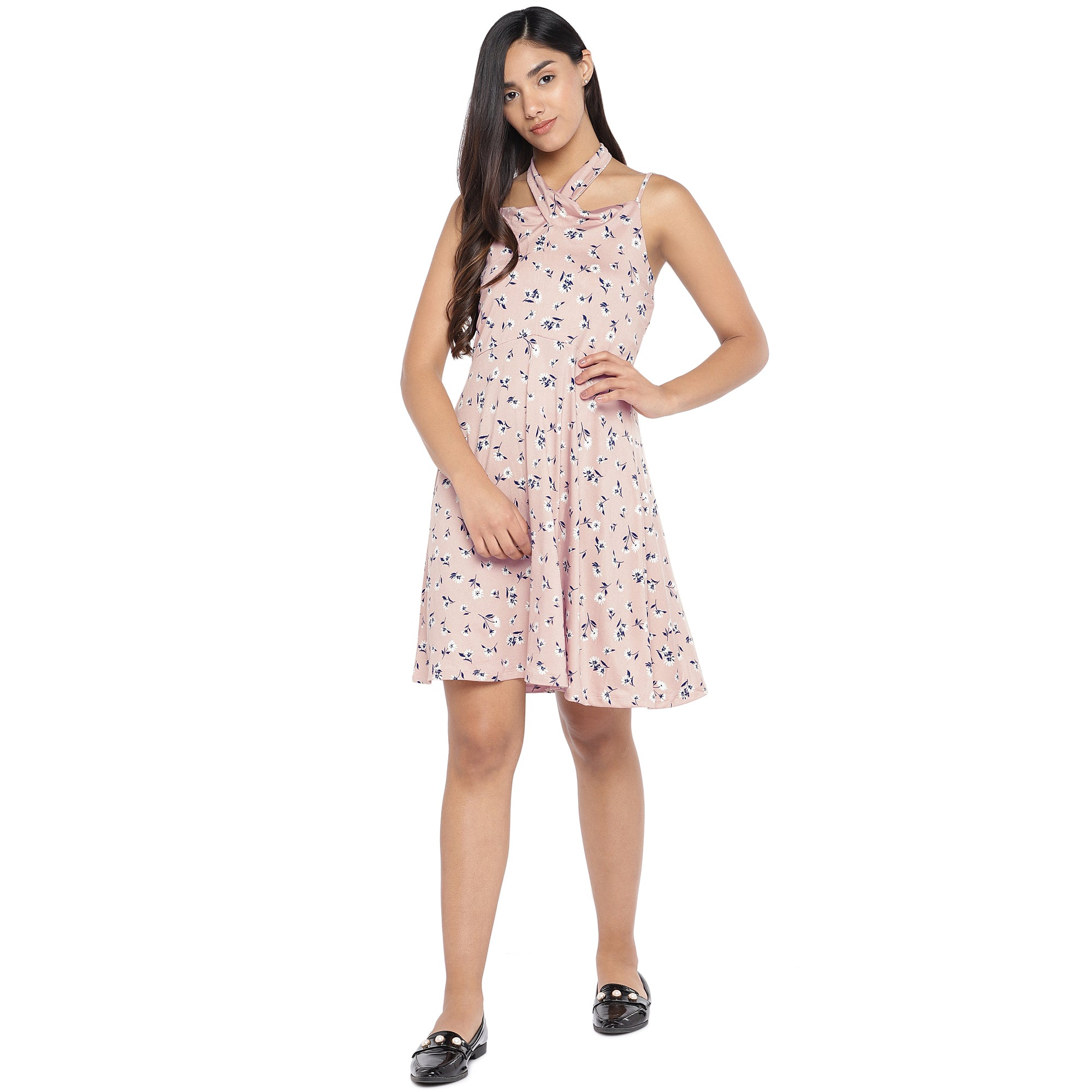Pink & Navy Blue Printed Fit and Flare Dress-4