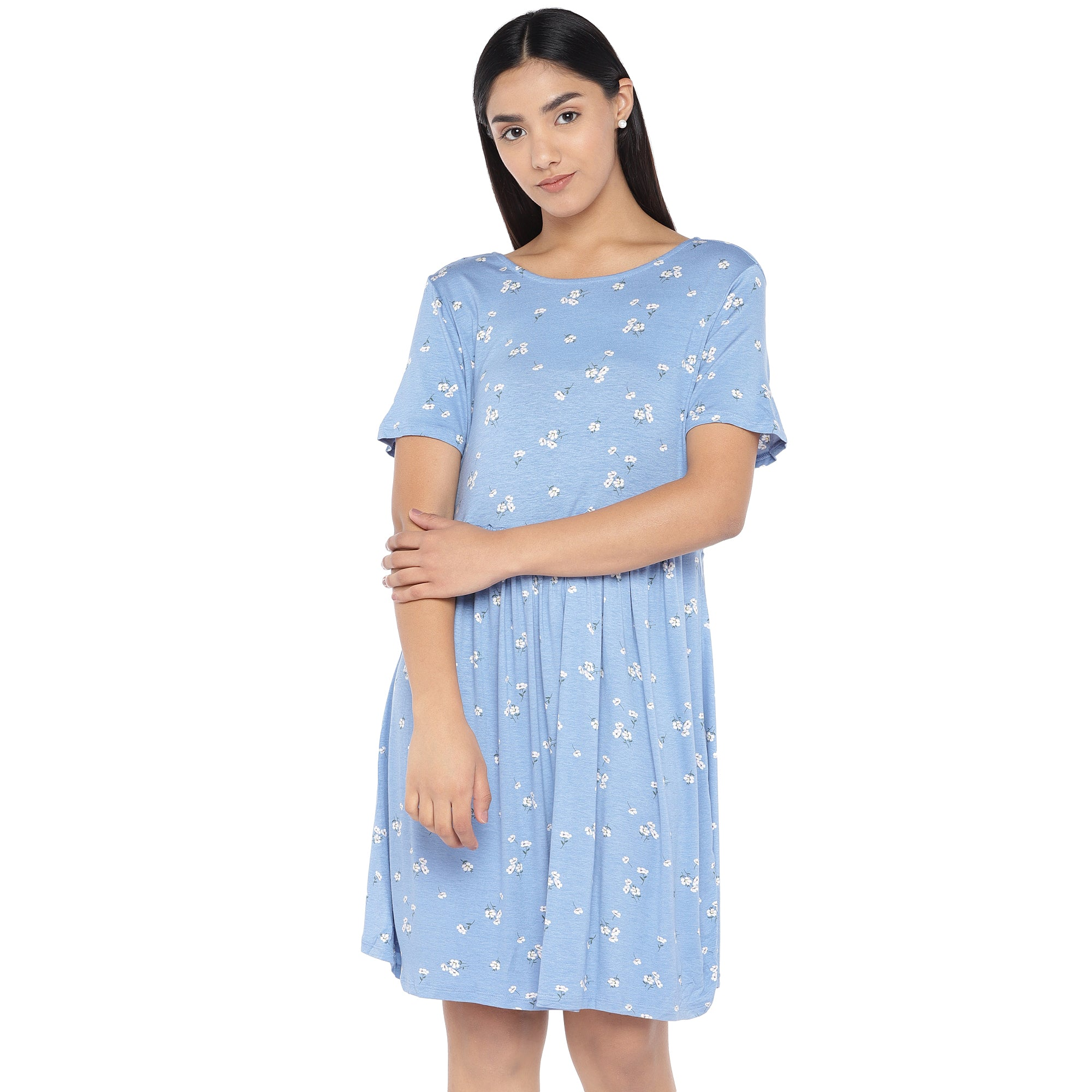 Blue & Off-White Printed A-Line Dress-1