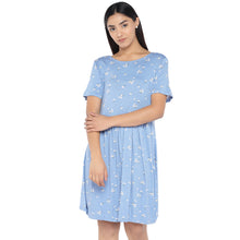Load image into Gallery viewer, Blue & Off-White Printed A-Line Dress-1