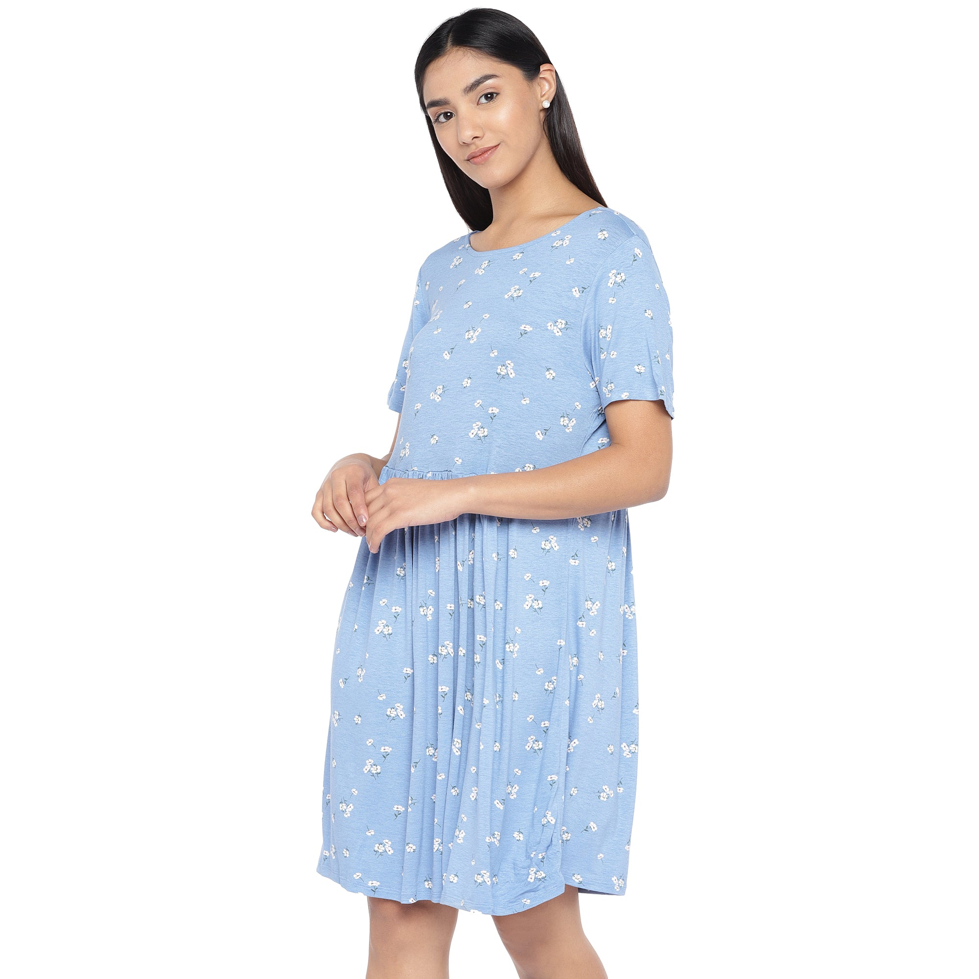 Blue & Off-White Printed A-Line Dress-2