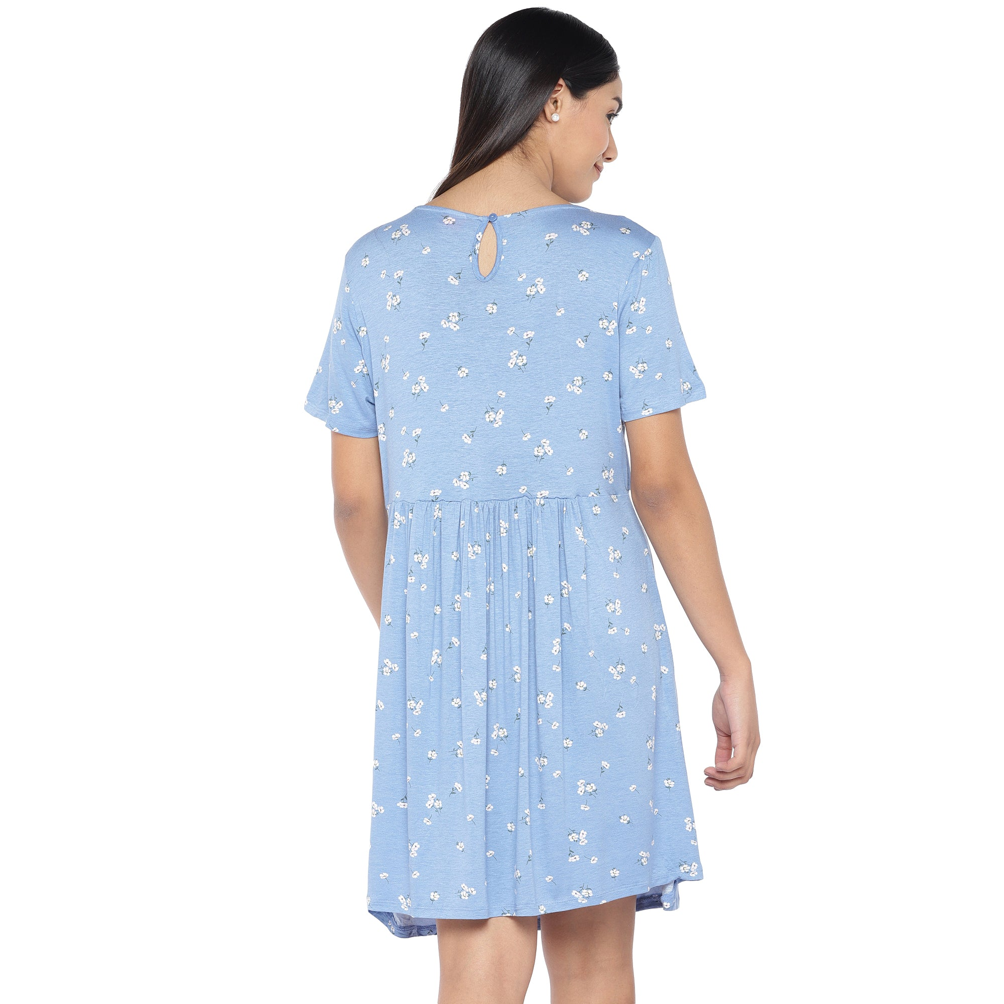 Blue & Off-White Printed A-Line Dress-3