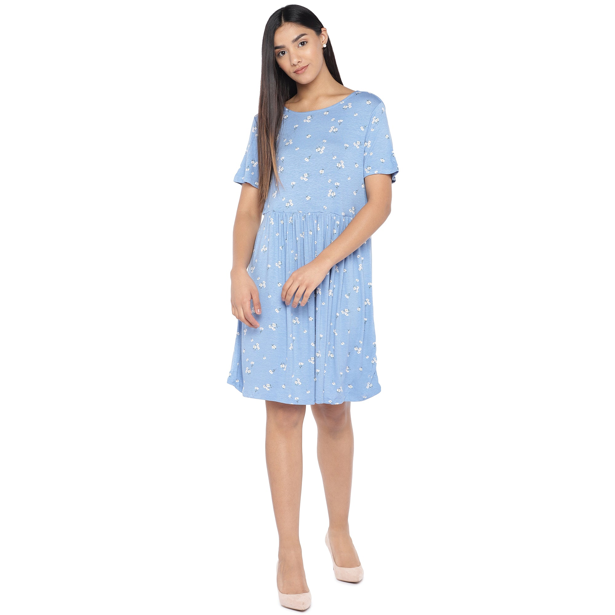 Blue & Off-White Printed A-Line Dress-4