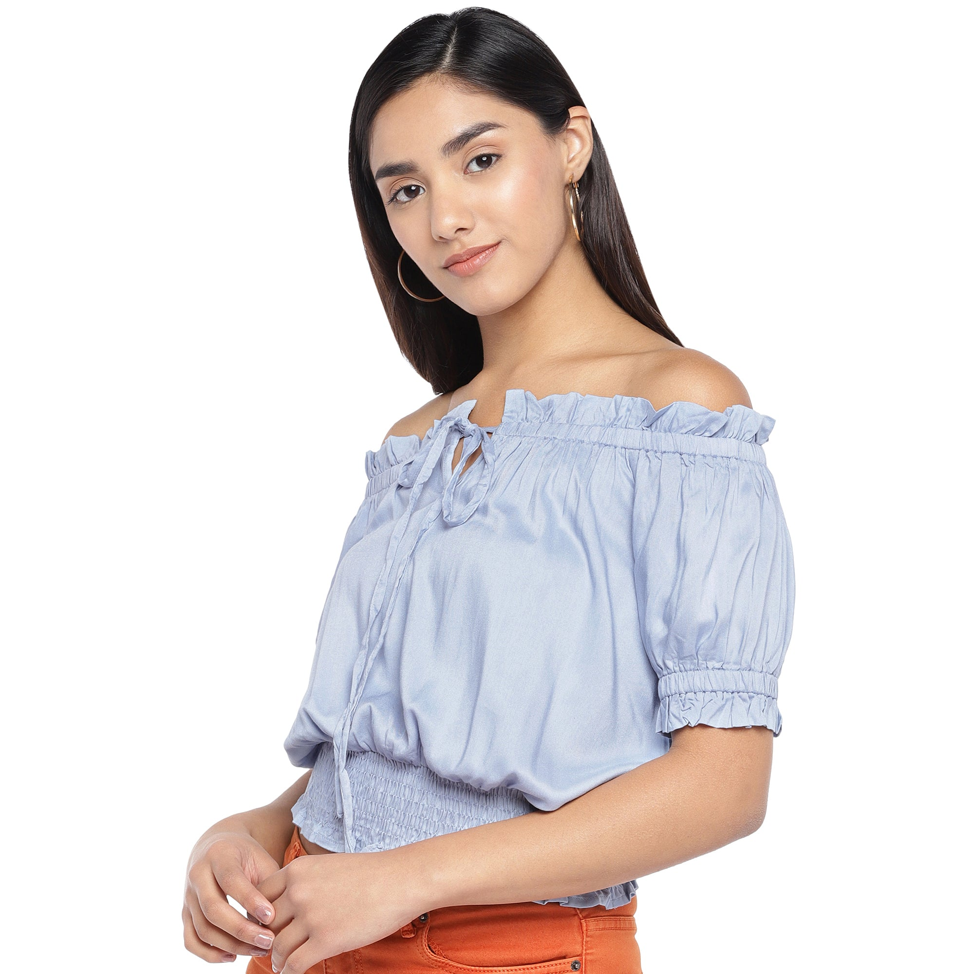 Blue Solid Bardot Top-2