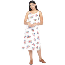 Load image into Gallery viewer, White & Pink Printed A-Line Dress-1